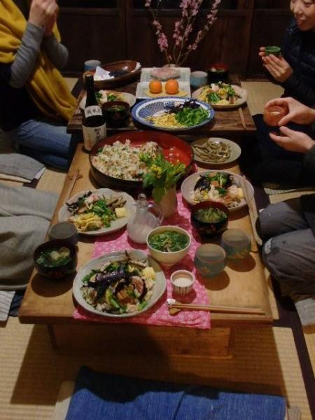 町農家 ひな祭り 食卓全体